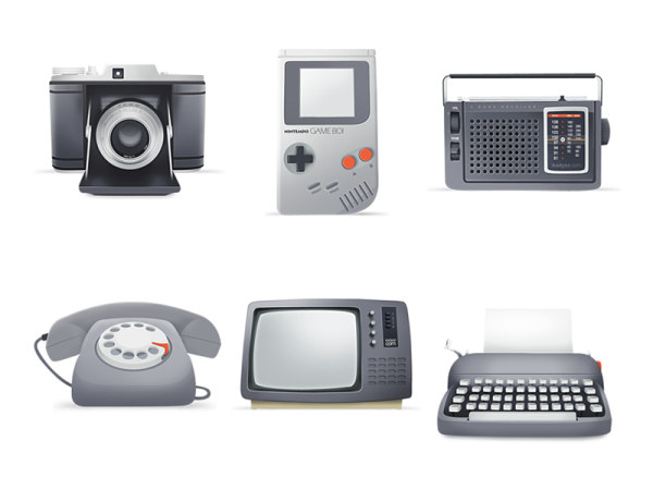 Retro video games and other electrical appliances icon (png-