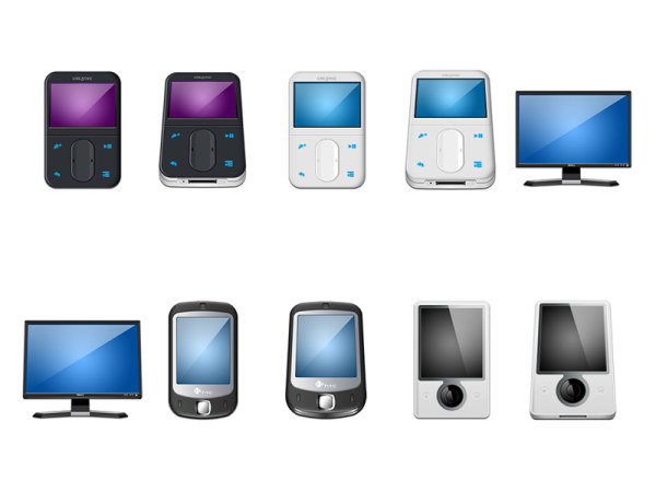 Mobile phones, mp3, display the icon png