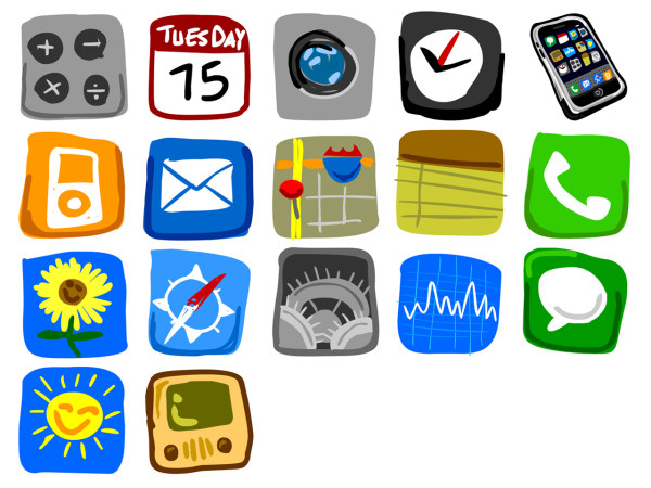 Link toIphone cell phone in hand-painted icon png