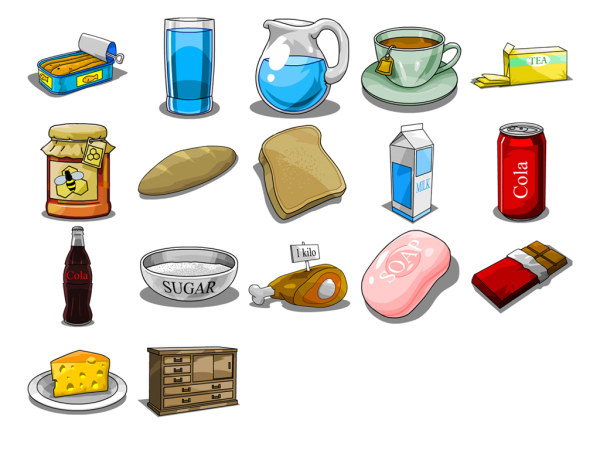 Link toFood and drink hand-painted icons (png