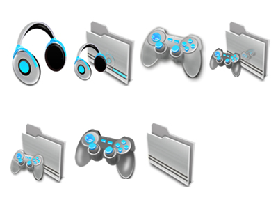 Game handle, headphones and a computer folder icon png
