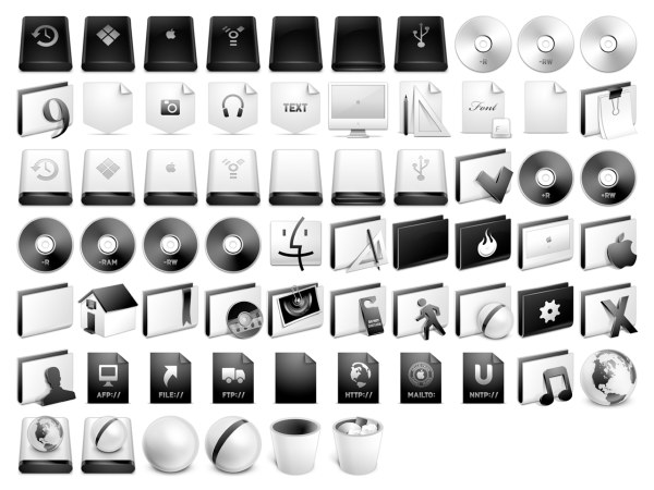 System, a full set of gray Apple icon png