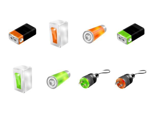 Battery, switch and plug icon png