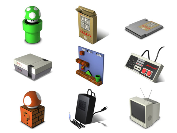 Classic Nintendo computer game icon png