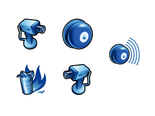 Link toBlue three-dimensional fire safety series icon png
