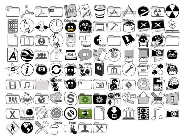 Super cute Dustbunnies full set of mac icons png