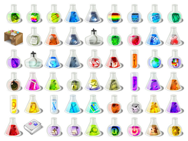 Crystal chemical containers cool style computer icon png