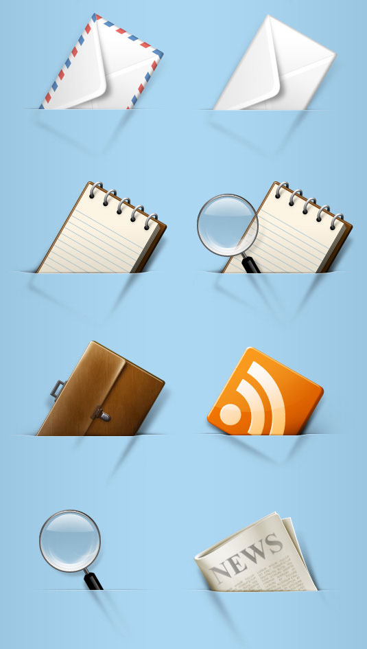 Various types of pocket icon