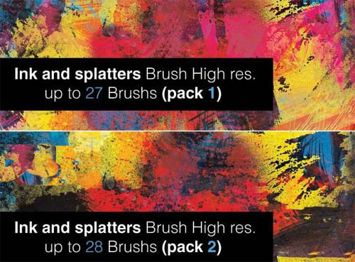 泼墨、喷溅笔刷集 (Ink and Splatter Photoshop Brushes - 2 Packs)