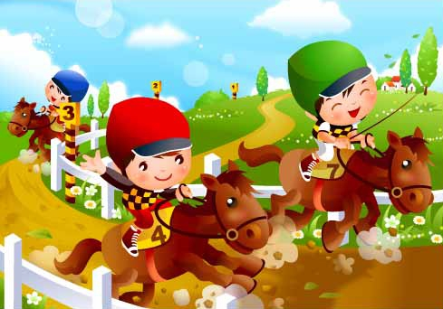 Children S Horse Racing Motion Vector Material Download Free Vector 3d Model Icon Youtoart Com