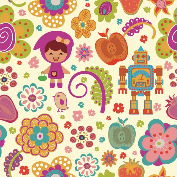 可爱卡通花朵图案矢量素材