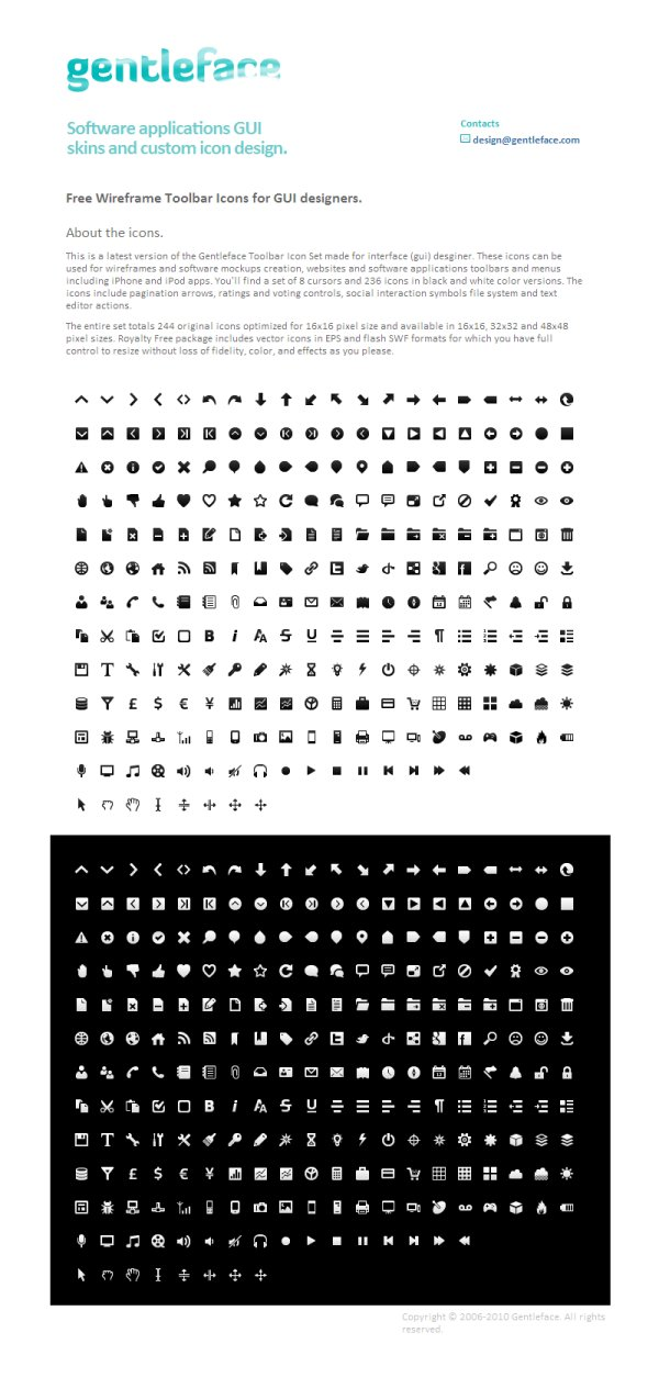 Wireframe mono black and white sets of a total of 244 simple