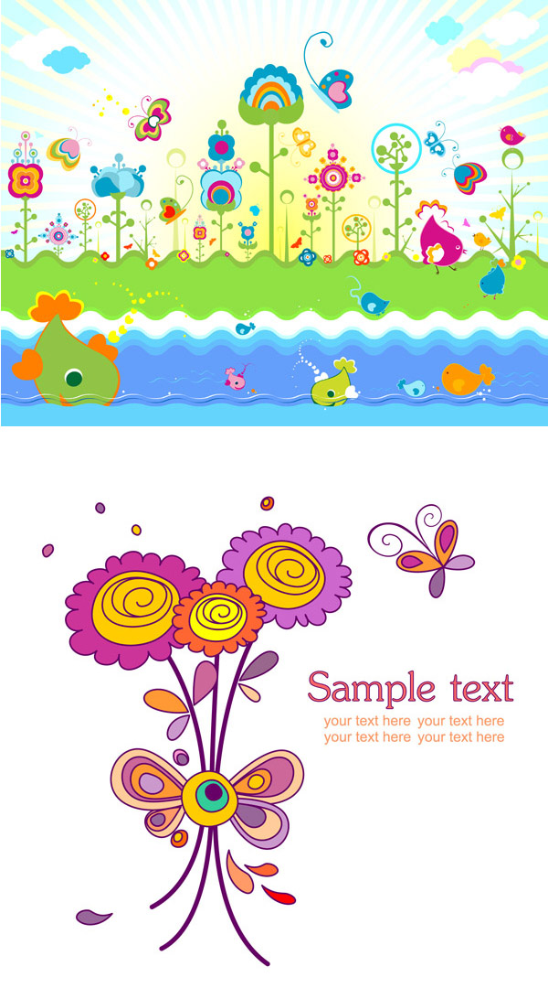 缤纷可爱的花朵主题矢量素材