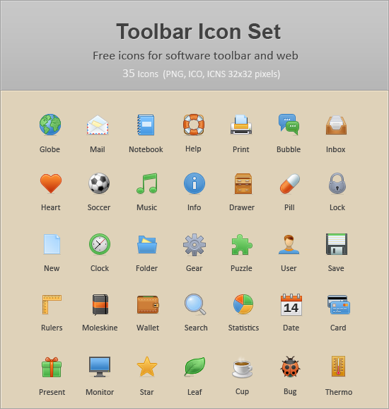 Link to35 common toolbar icons (toolbar icon set)