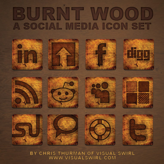 12 WEB2.0 burning wood and the SNS website style icon