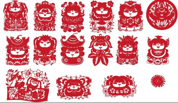 Chinese traditional paper-cut vector material Fuwa