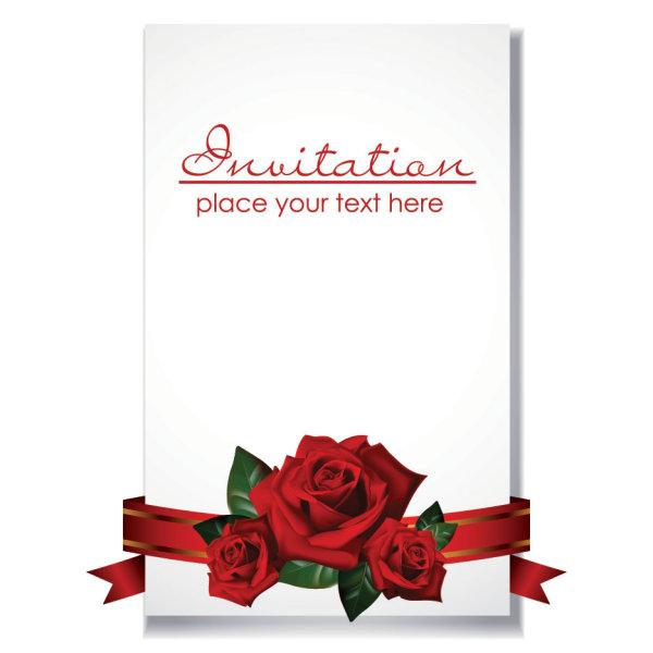 Romantic wedding invitations vector material File Formatai