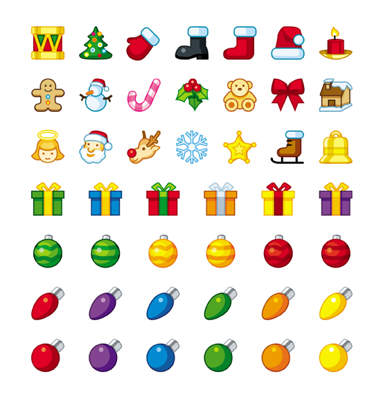 Cartoon Christmas icons - vector material