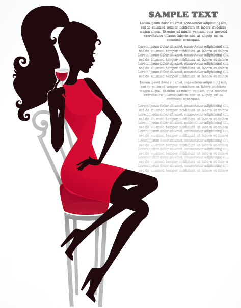 Fashion beauty silhouette 01 - vector material