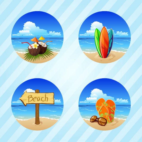 Lovely seaside stickers 02 - vector material