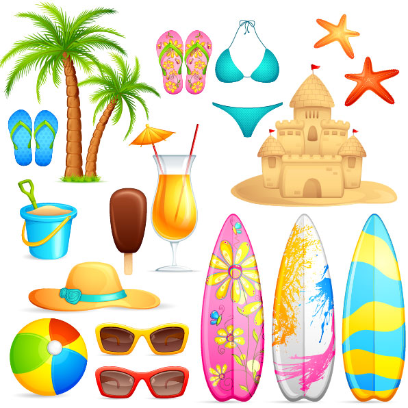 Lovely seaside stickers 04 - vector material