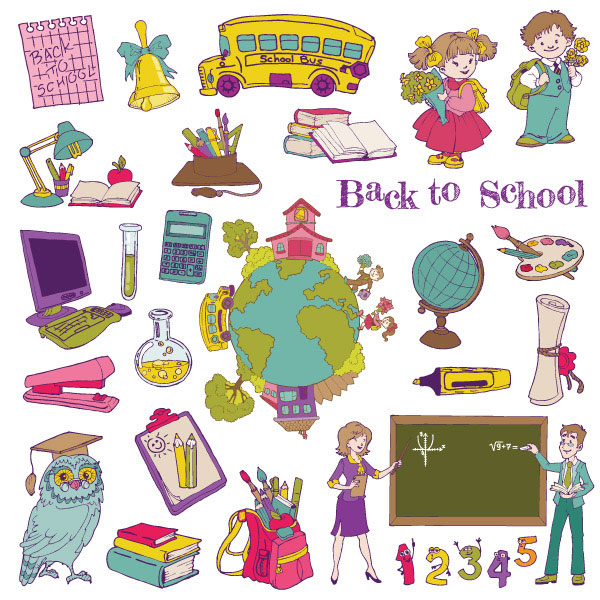 Graphic cartoon school theme vector material -1