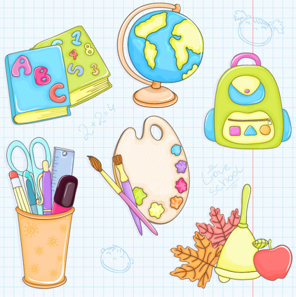 Cartoon school supplies 02 - vector material
