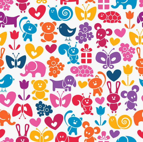 Cute cartoon background 02 - vector material