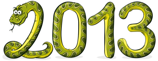 2013 Year of the Snake cartoon background - vector material