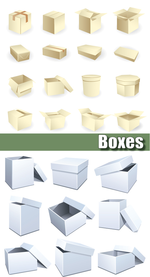 Layered cardboard boxes - vector material