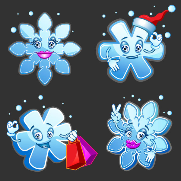 Cartoon snowflake image - vector material