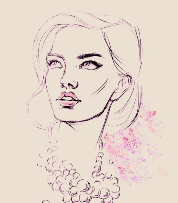 Pearl beautiful woman portrait sketch Vector