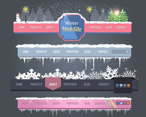 The beautiful Christmas navigation 01 - vector material