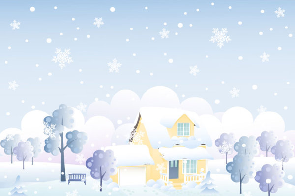 Cartoon cabin background 02 - vector material
