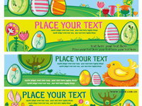 Easter eggs Vector banner material