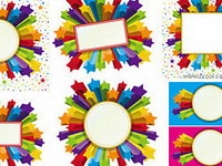 Colorful three-dimensional vector material Stars Border