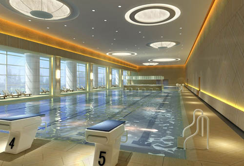Gymnasium -1, swimming pool, sports, commercial space, model