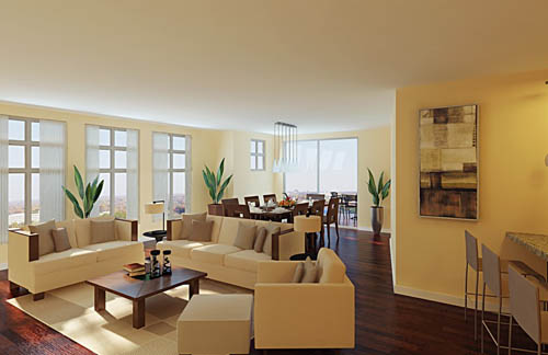 European style, simple decoration, the sun, living room, din