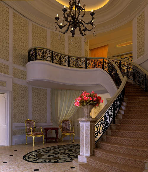 European-style spiral staircase, Continental, interior space