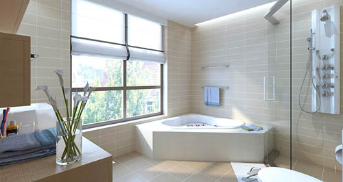 Toilet, Bathroom, bathtub, modern decoration, interior space