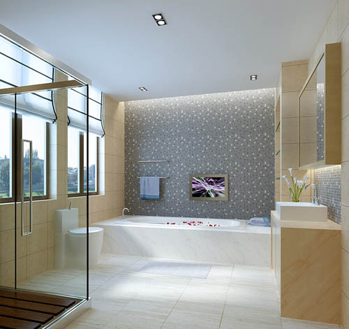 Simple toilet, bathroom, bathtub, warm decoration, interior