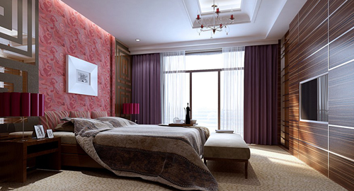 Bedroom, luxurious decoration, interior space, 3D model
