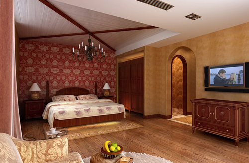 Bedroom, European-style red, warm decoration, interior space