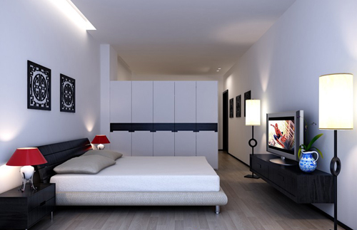 Bedroom, interior space, simple style, fashion, decoration,