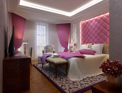 Bedroom, pink bedroom, girl's bedroom, interior space, 3D mo