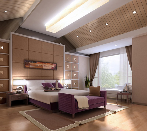 Bedroom, bright bedroom, purple bedroom, interior space, 3D