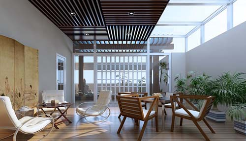 Balcony, terrace, modern style, interior space, 3D model