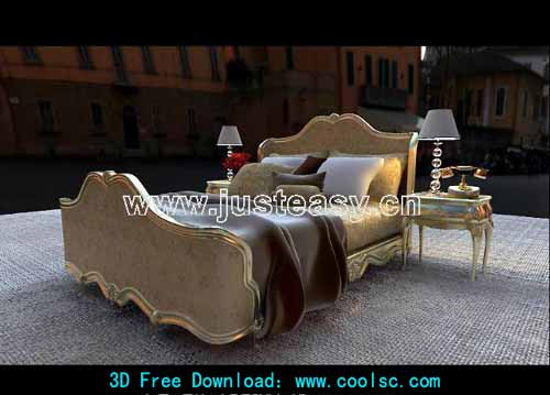 Low-key style -1, luxury bed combination furniture, bed, 3D