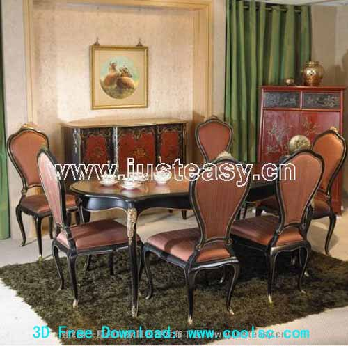 Low-key style -2, luxury dining table and chair combination,
