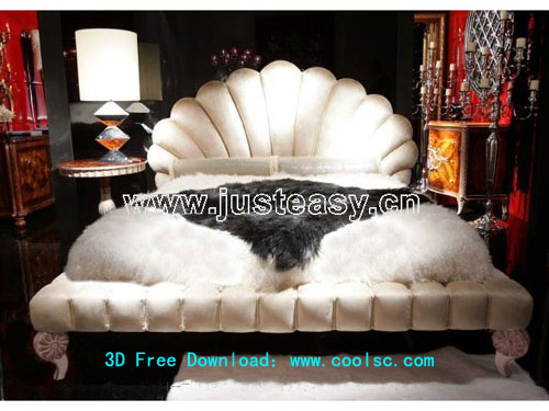 Claes bed, classical bed, European-style, furniture, 3D mode